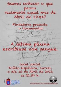 Cartel documental sobre os Mártires.