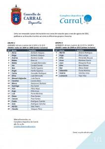Listados Grupos natación. Agosto 2016