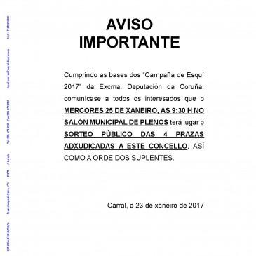 SORTEO DAS PRAZAS DA CAMPAÑA DE ESQUÍ 2017
