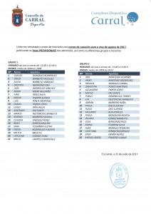 Listado PROVISIONAL admitidos cursos de natación