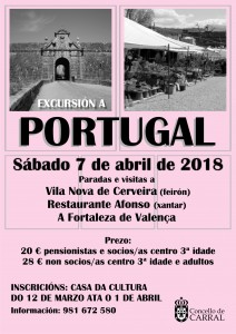 Cartel Excursión a Portugal 2018.
