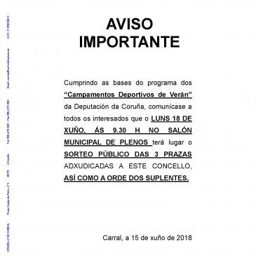 SORTEO PÚBLICO. CAMPAMENTOS DEPORTIVOS DA DEPUTACIÓN