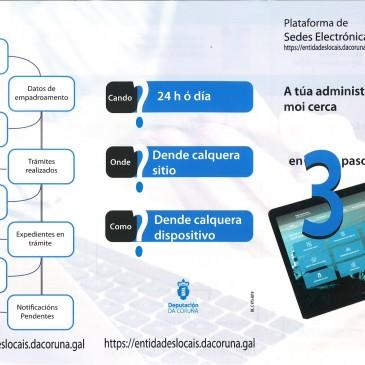 Folleto informativo da Deputación da Coruña sobre sedes electrónicas municipais e identificación con Cl@ve