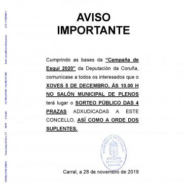 SORTEO DAS PRAZAS PARA A CAMPAÑA DE ESQUÍ DA DEPUTACIÓN
