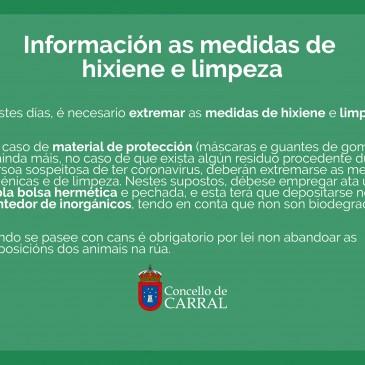 INFORMACIÓN SOBRE AS MEDIDAS DE LIMPIEZA E HIXIENE