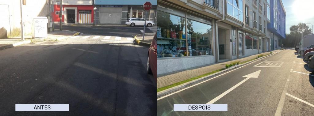 O antes e o despois na rúa Manuel Ferrol tras as actuacións acometidas polo Concello de Carral