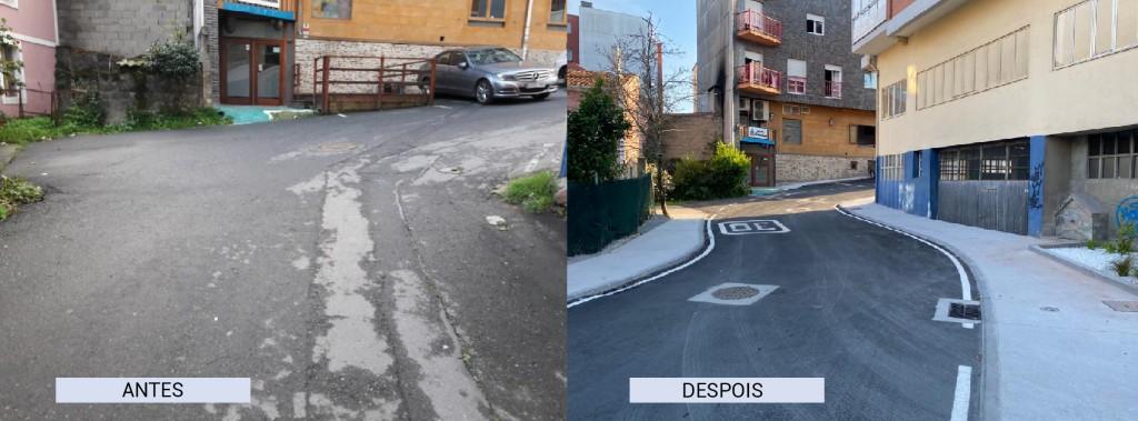 O antes e o despois na rúa Río da Melra tras as actuacións acometidas polo Concello de Carral